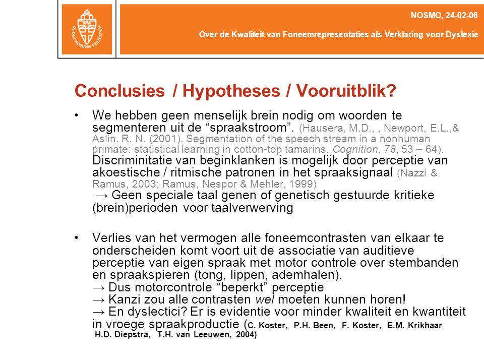 Over de Kwaliteit van Foneemrepresentaties als Verklaring voor Dyslexie NOSMO, 24-02-06 Bates, E., Thal, D., Finlay, B.