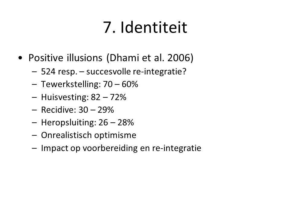7. Identiteit •Positive illusions (Dhami et al. 2006) –524 resp. – succesvolle re-integratie? –Tewerkstelling: 70 – 60% –Huisvesting: 82 – 72% –Recidi