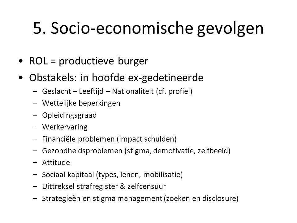 5. Socio-economische gevolgen •ROL = productieve burger •Obstakels: in hoofde ex-gedetineerde –Geslacht – Leeftijd – Nationaliteit (cf. profiel) –Wett