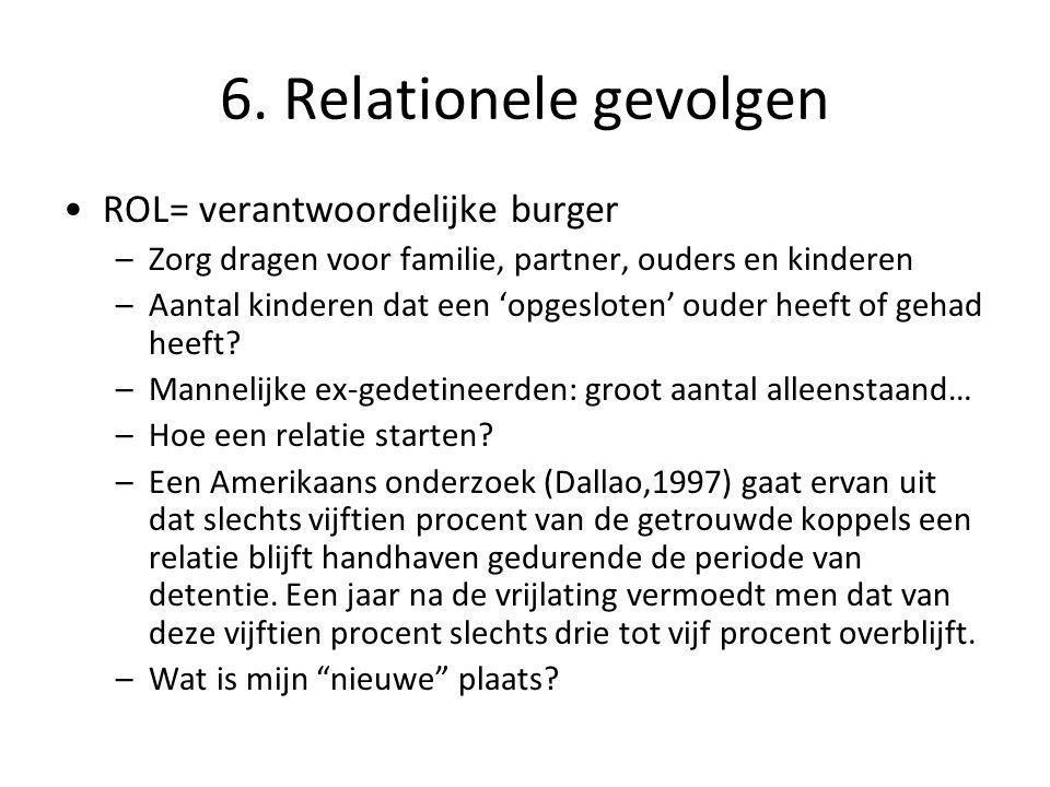 6. Relationele gevolgen •ROL= verantwoordelijke burger –Zorg dragen voor familie, partner, ouders en kinderen –Aantal kinderen dat een 'opgesloten' ou