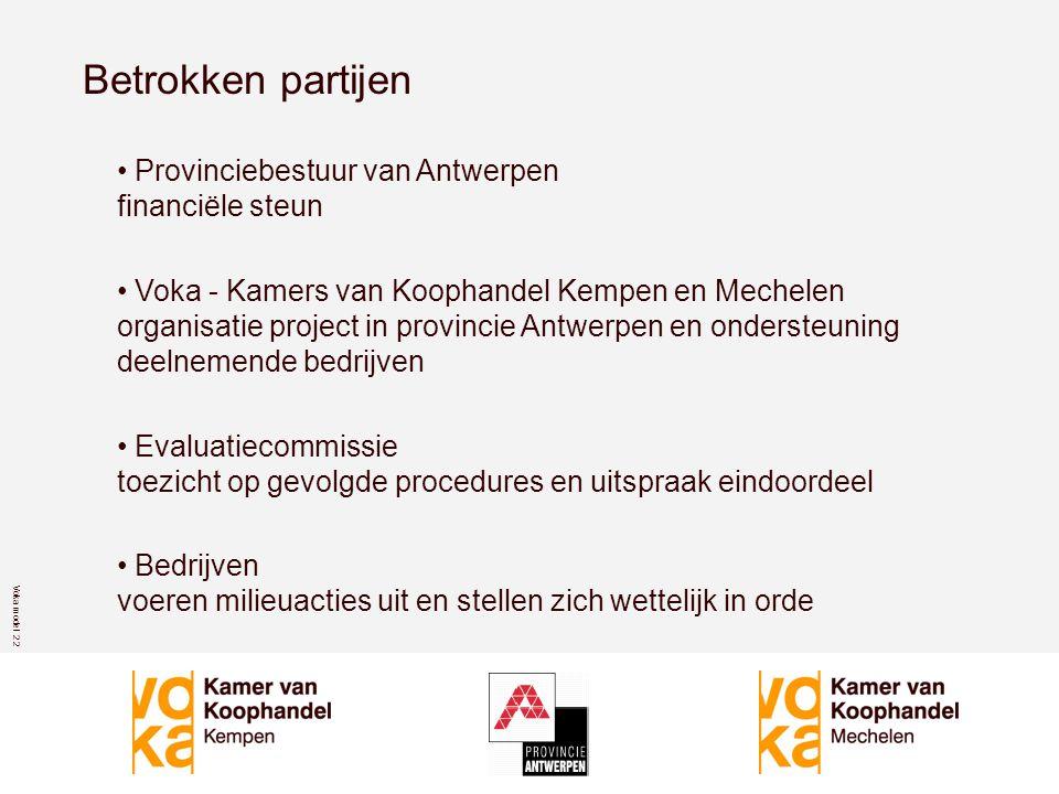 Voka model 2 2 Betrokken partijen • Provinciebestuur van Antwerpen financiële steun • Voka - Kamers van Koophandel Kempen en Mechelen organisatie project in provincie Antwerpen en ondersteuning deelnemende bedrijven • Evaluatiecommissie toezicht op gevolgde procedures en uitspraak eindoordeel • Bedrijven voeren milieuacties uit en stellen zich wettelijk in orde