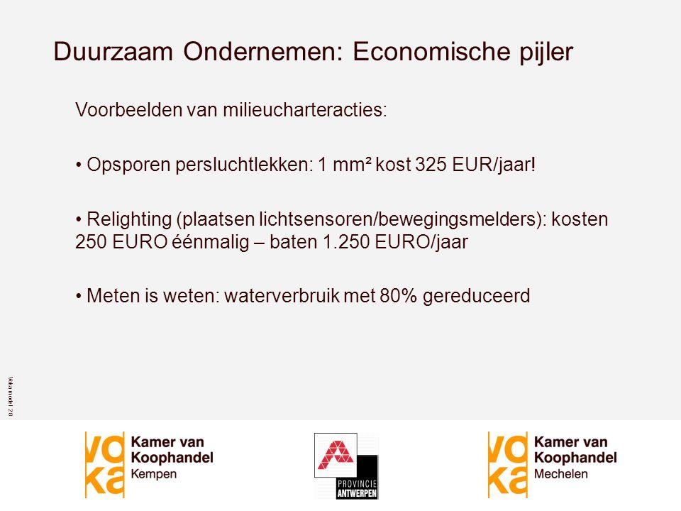 Voka model 2 8 Duurzaam Ondernemen: Economische pijler Voorbeelden van milieucharteracties: • Opsporen persluchtlekken: 1 mm² kost 325 EUR/jaar.