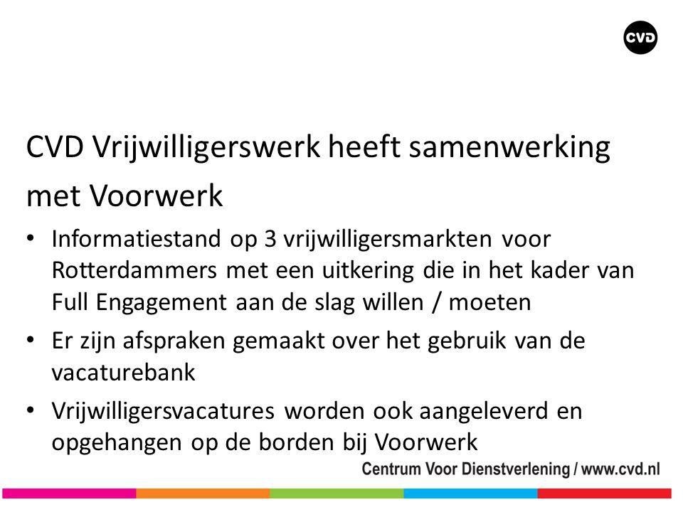 CVD Vrijwilligerswerk heeft samenwerking met Voorwerk • Informatiestand op 3 vrijwilligersmarkten voor Rotterdammers met een uitkering die in het kader van Full Engagement aan de slag willen / moeten • Er zijn afspraken gemaakt over het gebruik van de vacaturebank • Vrijwilligersvacatures worden ook aangeleverd en opgehangen op de borden bij Voorwerk