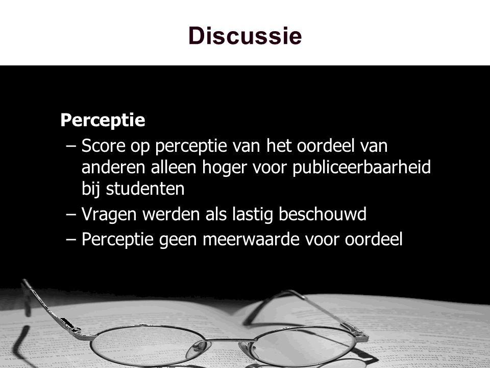 Discussie Perceptie –Score op perceptie van het oordeel van anderen alleen hoger voor publiceerbaarheid bij studenten –Vragen werden als lastig beschouwd –Perceptie geen meerwaarde voor oordeel