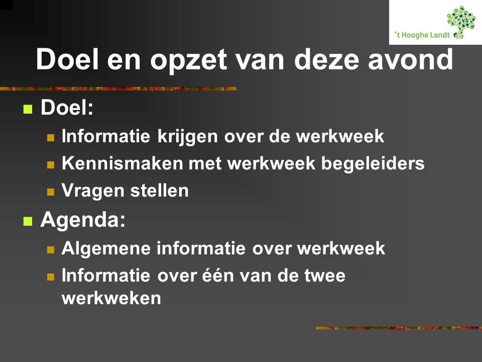 Doel en opzet van deze avond  Doel:  Informatie krijgen over de werkweek  Kennismaken met werkweek begeleiders  Vragen stellen  Agenda:  Algemene informatie over werkweek  Informatie over één van de twee werkweken