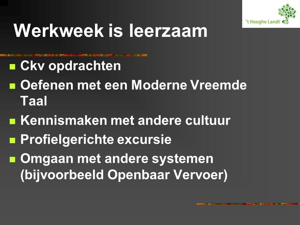 Werkweek is leerzaam  Ckv opdrachten  Oefenen met een Moderne Vreemde Taal  Kennismaken met andere cultuur  Profielgerichte excursie  Omgaan met
