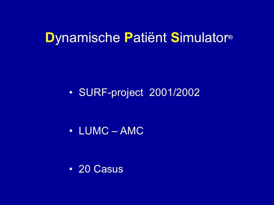 Dynamische Patiënt Simulator ® • SURF-project 2001/2002 • LUMC – AMC • 20 Casus