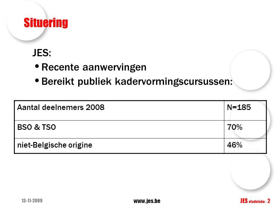 13-11-2009 www.jes.be JES stadslabo - 2 Situering JES: • Recente aanwervingen • Bereikt publiek kadervormingscursussen: Aantal deelnemers 2008N=185 BSO & TSO70% niet-Belgische origine46%