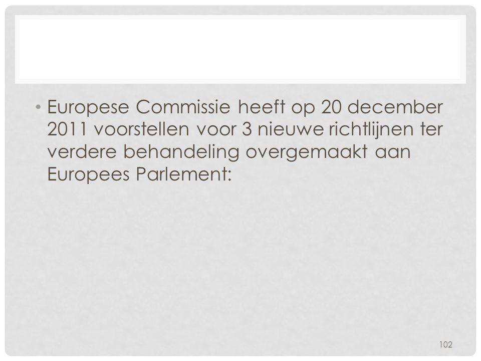 • Europese Commissie heeft op 20 december 2011 voorstellen voor 3 nieuwe richtlijnen ter verdere behandeling overgemaakt aan Europees Parlement: 102
