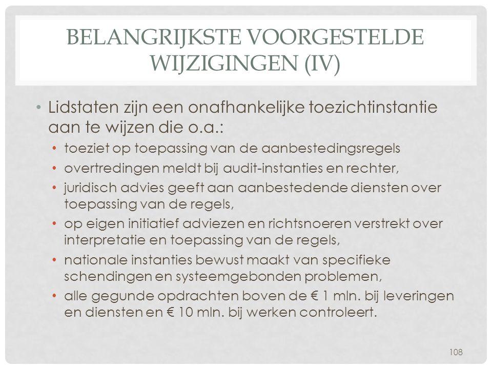 BELANGRIJKSTE VOORGESTELDE WIJZIGINGEN (IV) • Lidstaten zijn een onafhankelijke toezichtinstantie aan te wijzen die o.a.: • toeziet op toepassing van