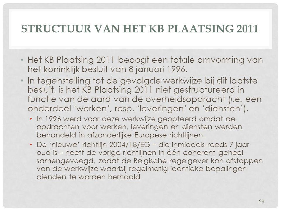 STRUCTUUR VAN HET KB PLAATSING 2011 • Het KB Plaatsing 2011 beoogt een totale omvorming van het koninklijk besluit van 8 januari 1996. • In tegenstell