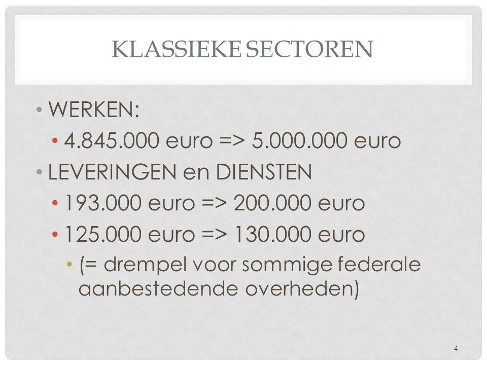 KLASSIEKE SECTOREN • WERKEN: • 4.845.000 euro => 5.000.000 euro • LEVERINGEN en DIENSTEN • 193.000 euro => 200.000 euro • 125.000 euro => 130.000 euro