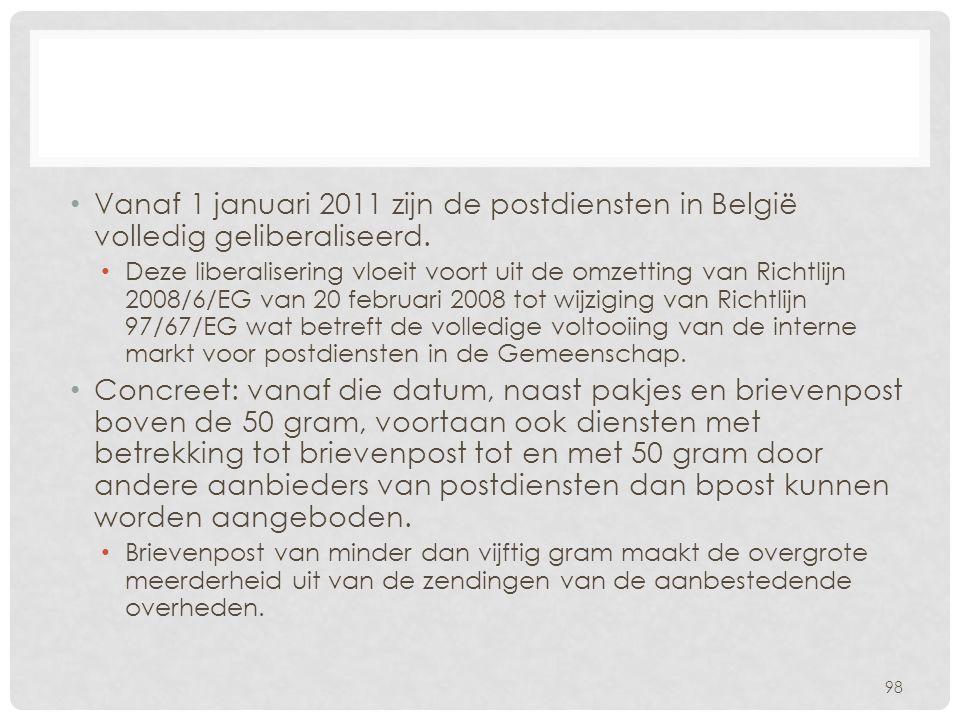 • Vanaf 1 januari 2011 zijn de postdiensten in België volledig geliberaliseerd. • Deze liberalisering vloeit voort uit de omzetting van Richtlijn 2008