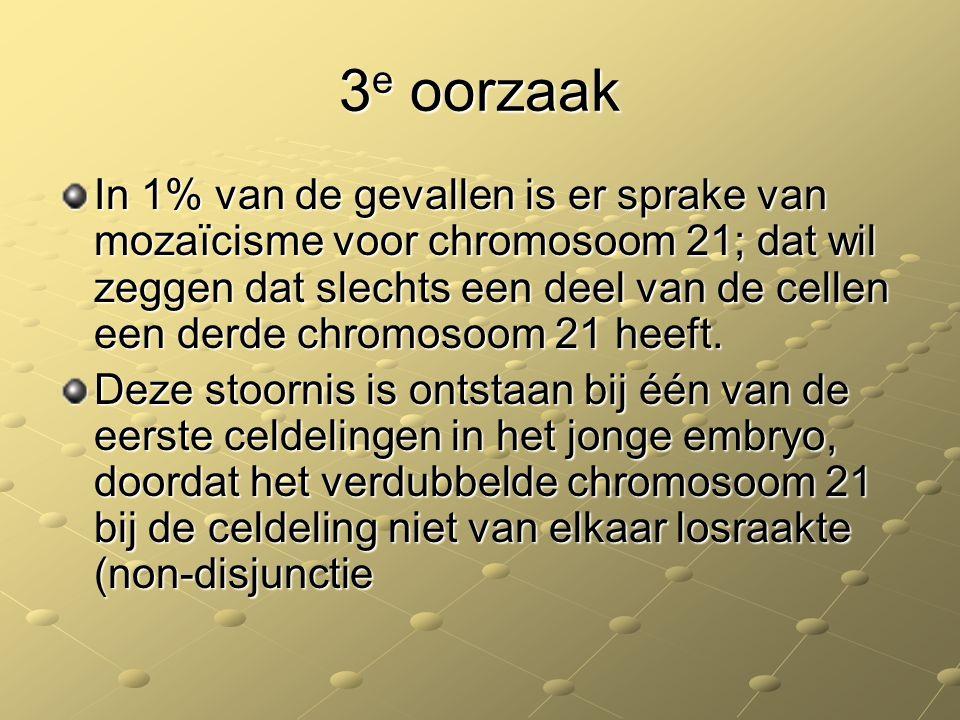 3 e oorzaak In 1% van de gevallen is er sprake van mozaïcisme voor chromosoom 21; dat wil zeggen dat slechts een deel van de cellen een derde chromoso