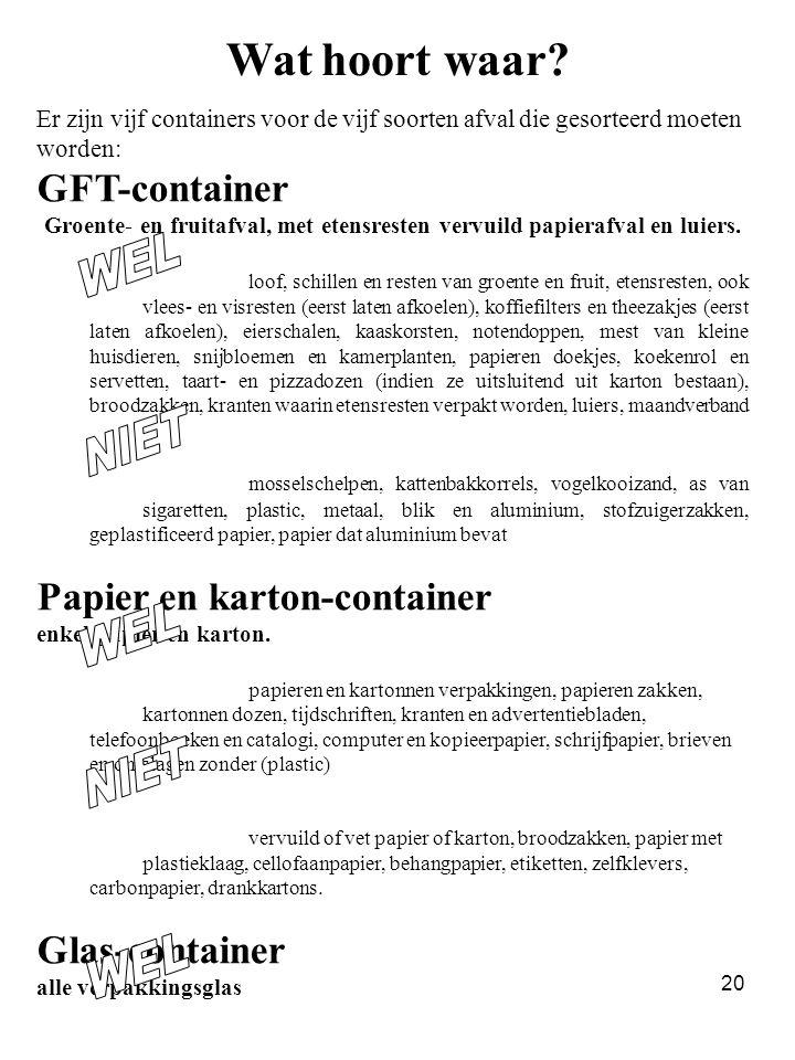 20 Wat hoort waar? Er zijn vijf containers voor de vijf soorten afval die gesorteerd moeten worden: GFT-container Groente- en fruitafval, met etensres