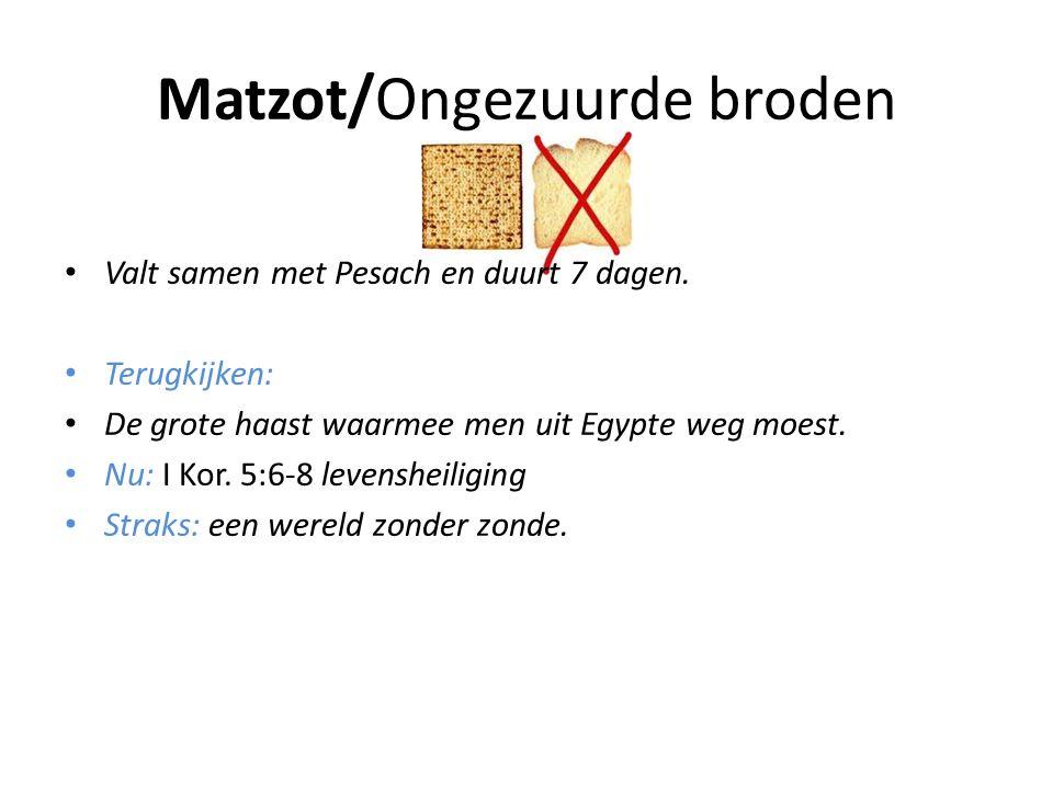 Matzot/Ongezuurde broden • Valt samen met Pesach en duurt 7 dagen. • Terugkijken: • De grote haast waarmee men uit Egypte weg moest. • Nu: I Kor. 5:6-