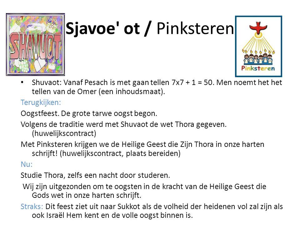 Sjavoe' ot / Pinksteren • Shuvaot: Vanaf Pesach is met gaan tellen 7x7 + 1 = 50. Men noemt het het tellen van de Omer (een inhoudsmaat). Terugkijken: