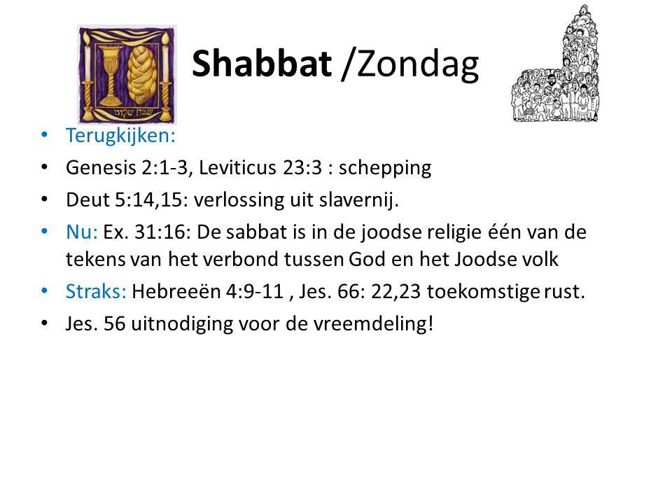 Shabbat /Zondag • Terugkijken: • Genesis 2:1-3, Leviticus 23:3 : schepping • Deut 5:14,15: verlossing uit slavernij. • Nu: Ex. 31:16: De sabbat is in