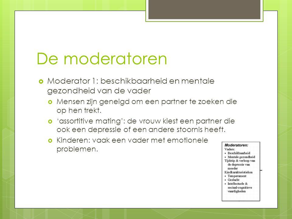 De moderatoren  Moderator 1: beschikbaarheid en mentale gezondheid van de vader  Mensen zijn geneigd om een partner te zoeken die op hen trekt.  'a