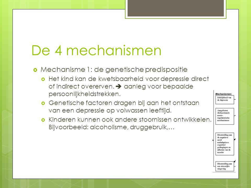 De 4 mechanismen  Mechanisme 1: de genetische predispositie  Het kind kan de kwetsbaarheid voor depressie direct of indirect overerven.  aanleg voo