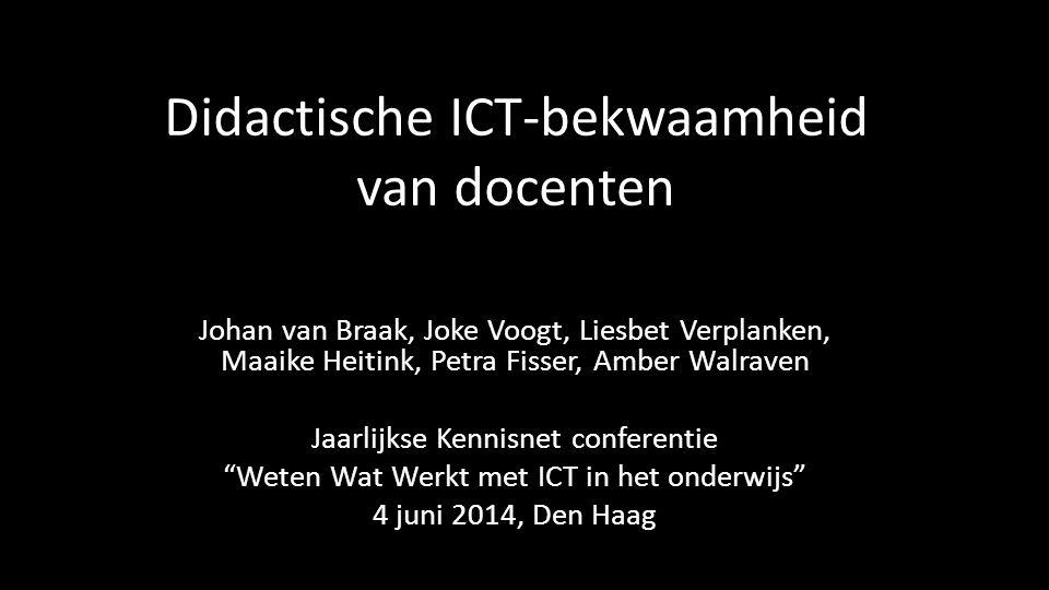 Didactische ICT-bekwaamheid Didactische ICT-bekwaamheid is de mogelijkheid van docenten om ICT-kennis en –vaardigheden in de praktijk te integreren met bestaande vakinhoudelijke en didactische kennis, én het vermogen om professioneel te redeneren over deze praktijk ondersteund door zelfvertrouwen, positieve opvattingen en houdingen.