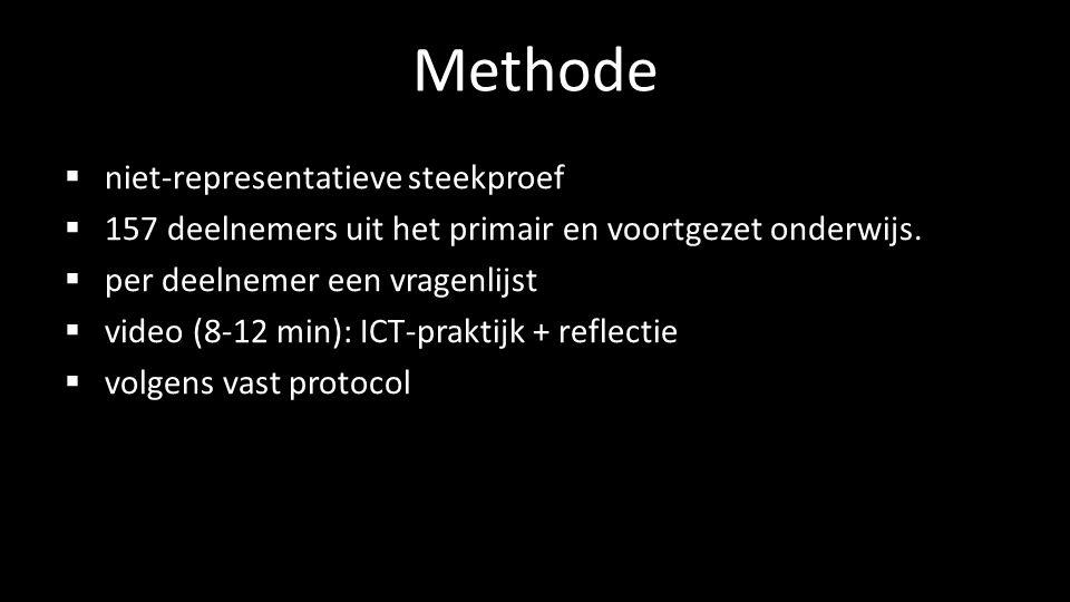 Methode  niet-representatieve steekproef  157 deelnemers uit het primair en voortgezet onderwijs.  per deelnemer een vragenlijst  video (8-12 min)