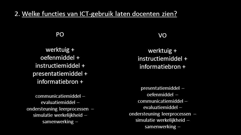 2. Welke functies van ICT-gebruik laten docenten zien? PO werktuig + oefenmiddel + instructiemiddel + presentatiemiddel + informatiebron + communicati