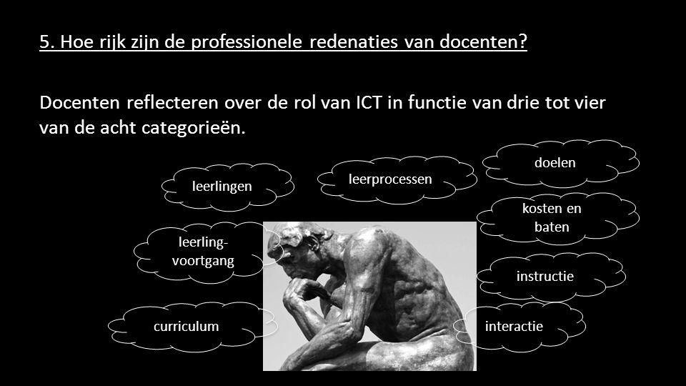 5. Hoe rijk zijn de professionele redenaties van docenten? Docenten reflecteren over de rol van ICT in functie van drie tot vier van de acht categorie