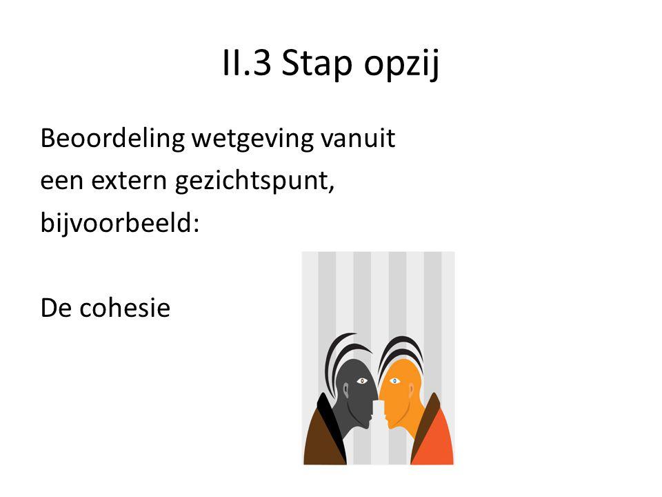 II.3 Stap opzij Beoordeling wetgeving vanuit een extern gezichtspunt, bijvoorbeeld: De cohesie