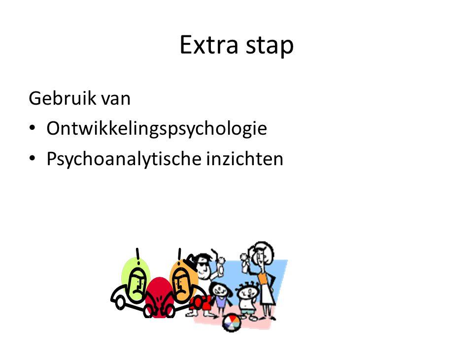 Extra stap Gebruik van • Ontwikkelingspsychologie • Psychoanalytische inzichten