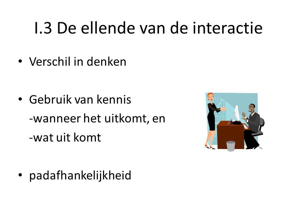 I.3 De ellende van de interactie • Verschil in denken • Gebruik van kennis -wanneer het uitkomt, en -wat uit komt • padafhankelijkheid