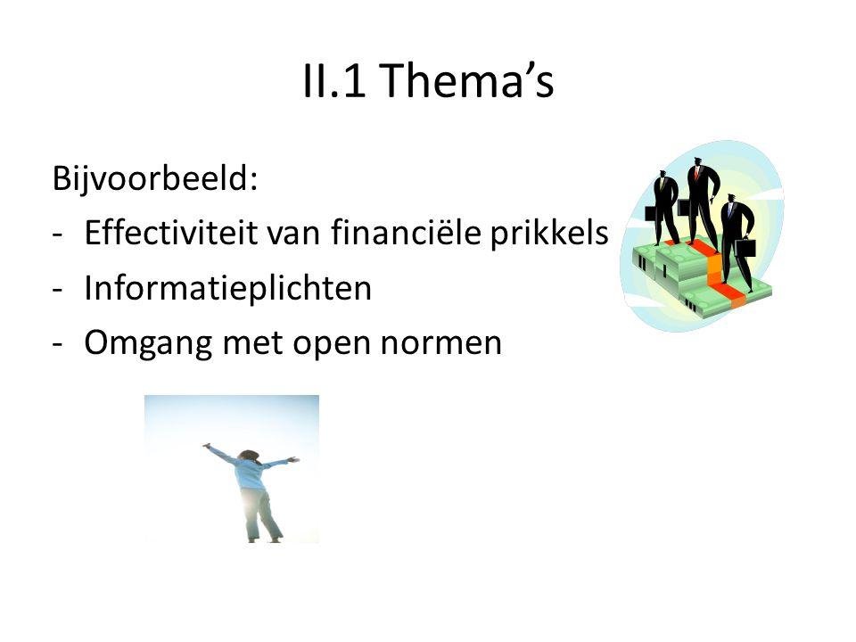 II.1 Thema's Bijvoorbeeld: -Effectiviteit van financiële prikkels -Informatieplichten -Omgang met open normen