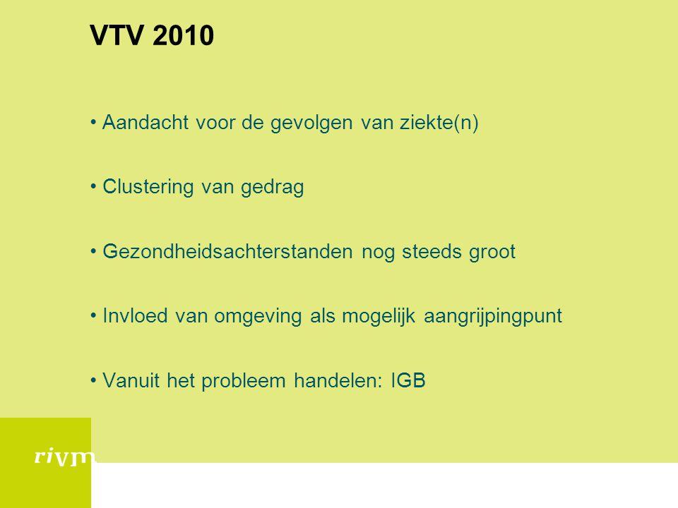 VTV 2010 •Aandacht voor de gevolgen van ziekte(n) •Clustering van gedrag •Gezondheidsachterstanden nog steeds groot •Invloed van omgeving als mogelijk