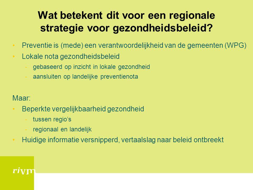 Wat betekent dit voor een regionale strategie voor gezondheidsbeleid? •Preventie is (mede) een verantwoordelijkheid van de gemeenten (WPG) •Lokale not