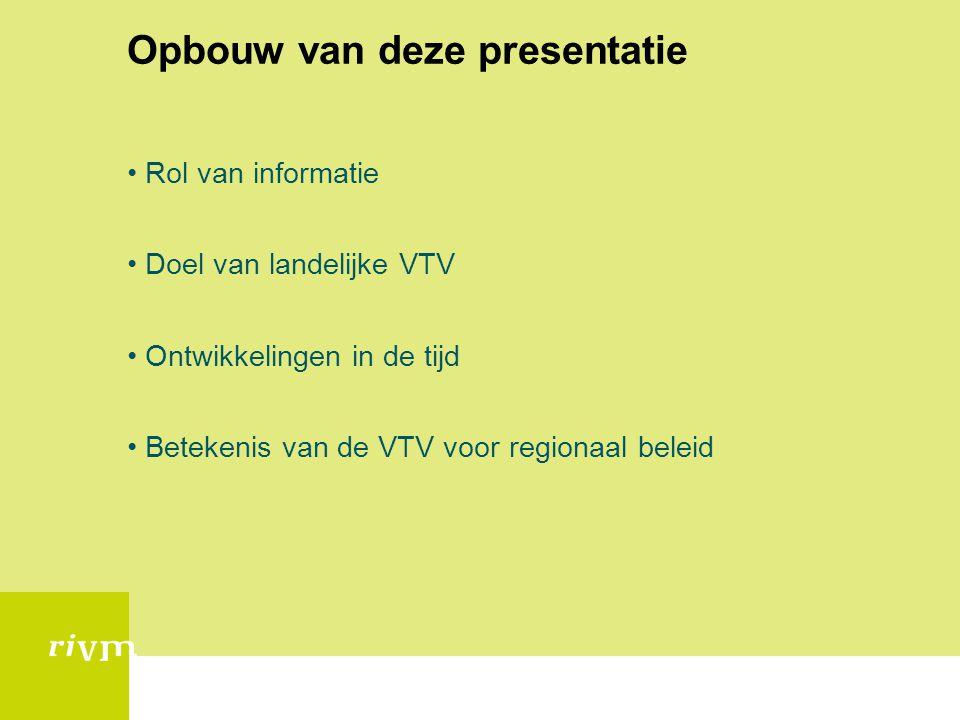 Opbouw van deze presentatie •Rol van informatie •Doel van landelijke VTV •Ontwikkelingen in de tijd •Betekenis van de VTV voor regionaal beleid
