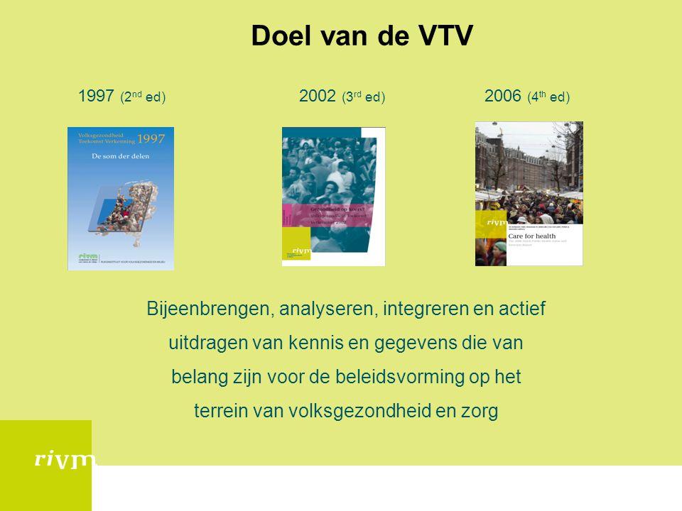 Doel van de VTV 1997 (2 nd ed) 2002 (3 rd ed) 2006 (4 th ed) Bijeenbrengen, analyseren, integreren en actief uitdragen van kennis en gegevens die van