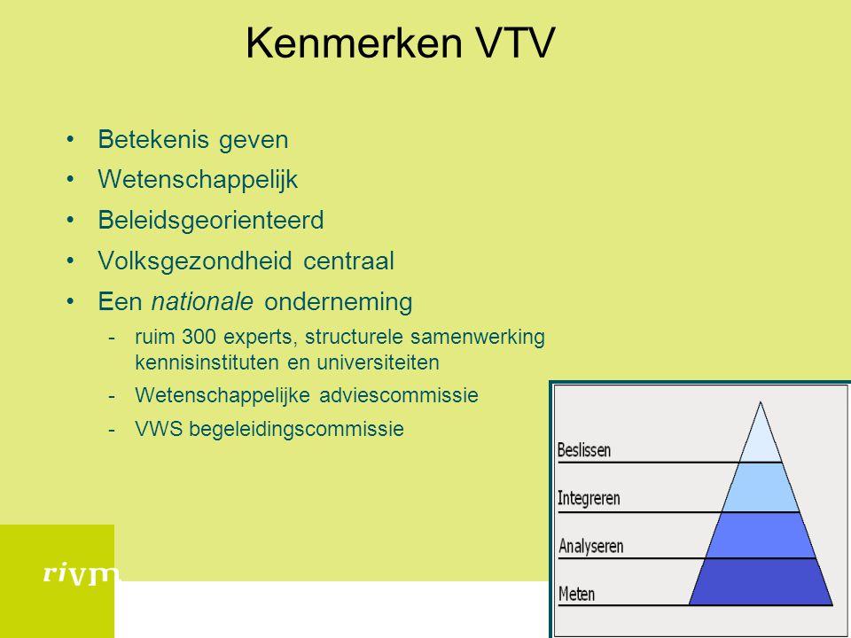 Kenmerken VTV •Betekenis geven •Wetenschappelijk •Beleidsgeorienteerd •Volksgezondheid centraal •Een nationale onderneming -ruim 300 experts, structur