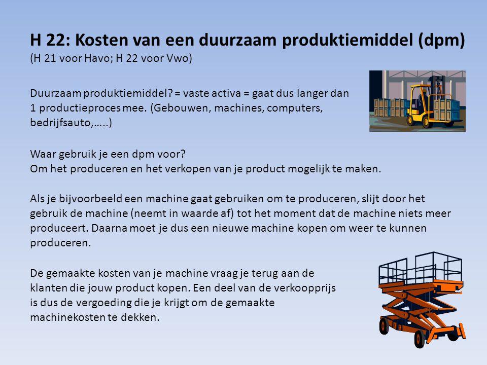 H 22: Kosten van een duurzaam produktiemiddel (dpm) (H 21 voor Havo; H 22 voor Vwo) Duurzaam produktiemiddel? = vaste activa = gaat dus langer dan 1 p
