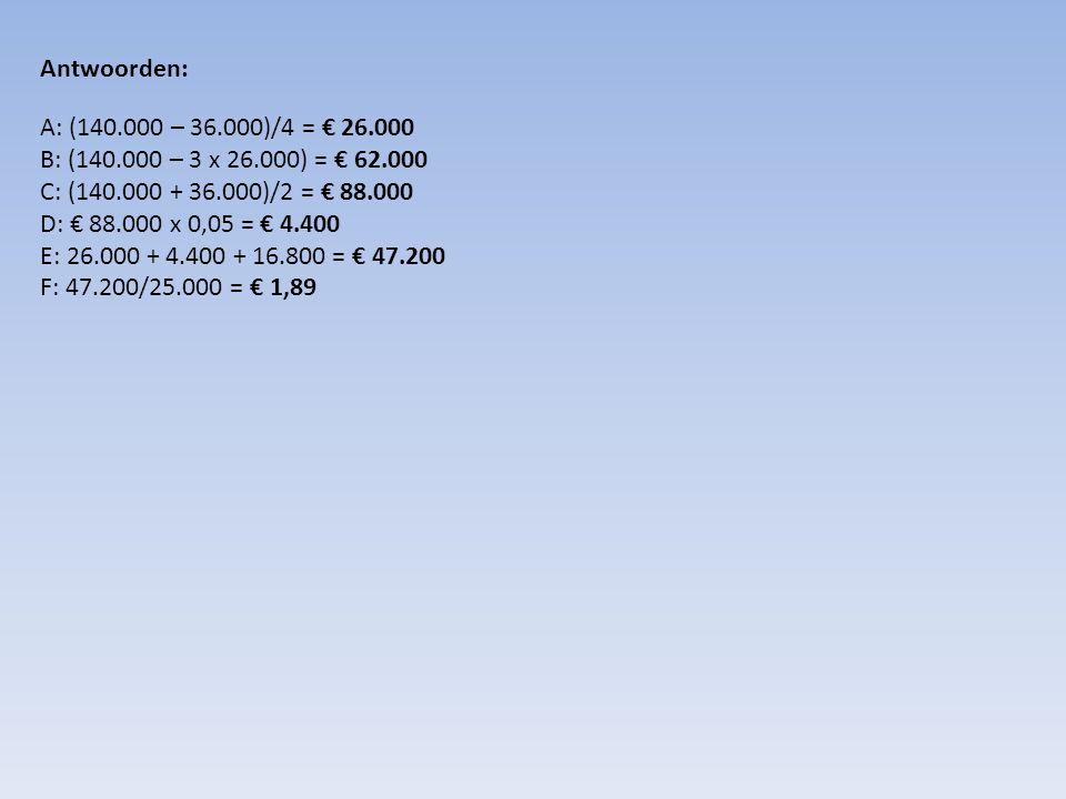 Antwoorden: A: (140.000 – 36.000)/4 = € 26.000 B: (140.000 – 3 x 26.000) = € 62.000 C: (140.000 + 36.000)/2 = € 88.000 D: € 88.000 x 0,05 = € 4.400 E:
