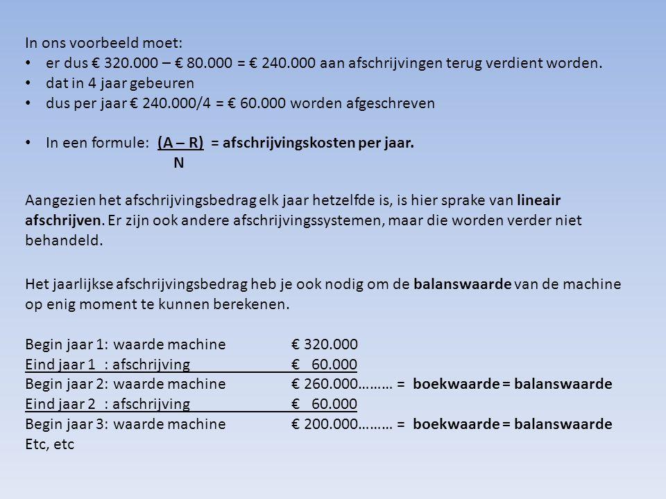 In ons voorbeeld moet: • er dus € 320.000 – € 80.000 = € 240.000 aan afschrijvingen terug verdient worden. • dat in 4 jaar gebeuren • dus per jaar € 2