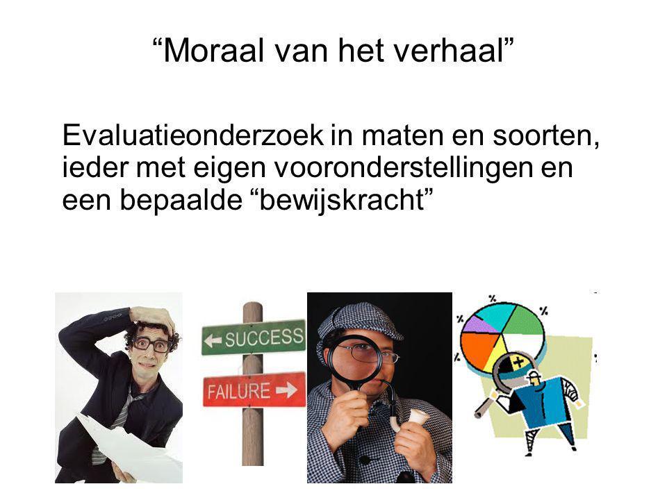 """""""Moraal van het verhaal"""" Evaluatieonderzoek in maten en soorten, ieder met eigen vooronderstellingen en een bepaalde """"bewijskracht"""""""