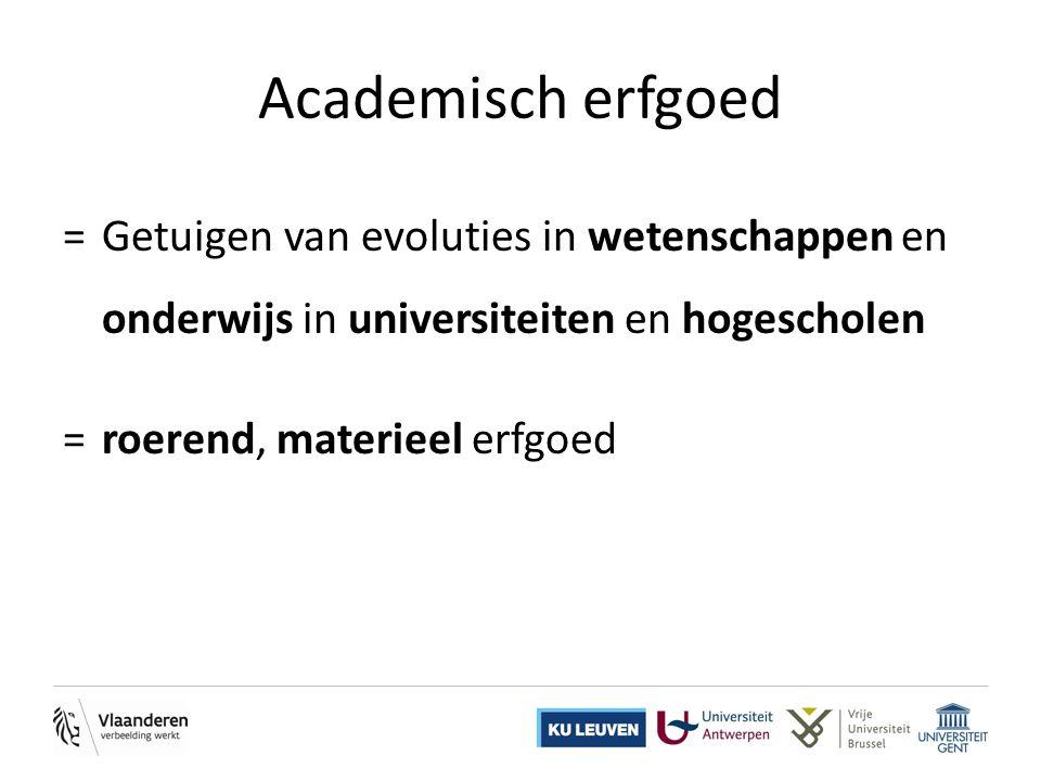Academisch erfgoed =Getuigen van evoluties in wetenschappen en onderwijs in universiteiten en hogescholen =roerend, materieel erfgoed