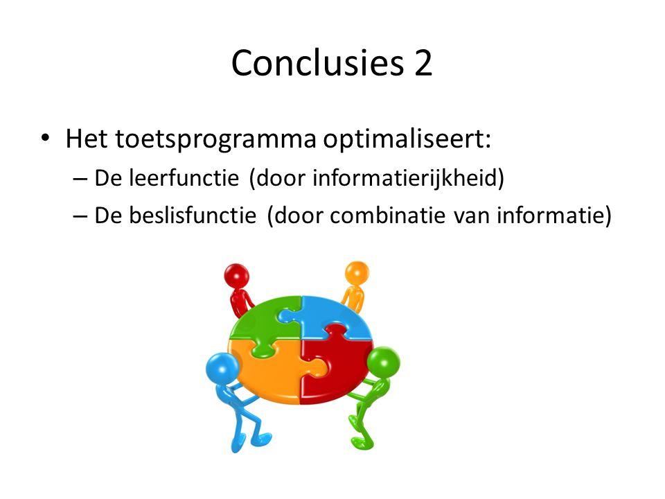 Conclusies 2 • Het toetsprogramma optimaliseert: – De leerfunctie (door informatierijkheid) – De beslisfunctie (door combinatie van informatie)