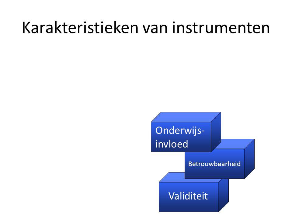 Karakteristieken van instrumenten Validiteit Betrouwbaarheid Onderwijs- invloed Acceptabiliteit Kosten Validiteit Betrouwbaarheid Onderwijs- invloed