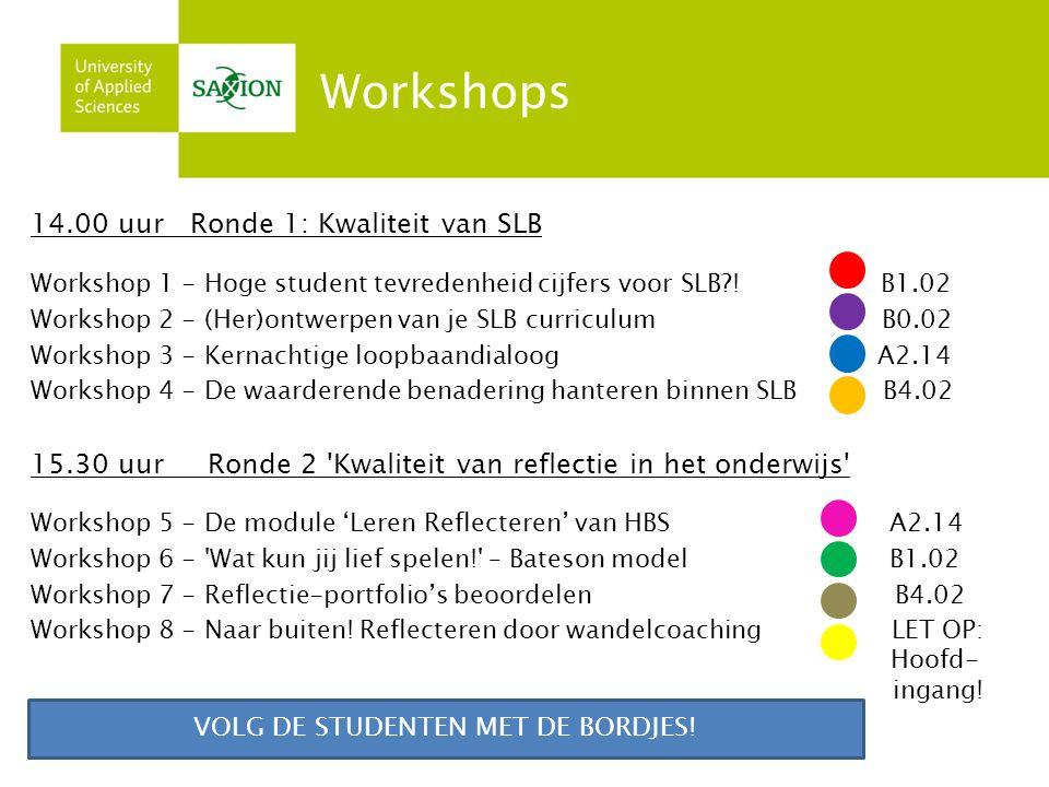 14.00 uur Ronde 1: Kwaliteit van SLB Workshop 1 - Hoge student tevredenheid cijfers voor SLB?! B1.02 Workshop 2 - (Her)ontwerpen van je SLB curriculum
