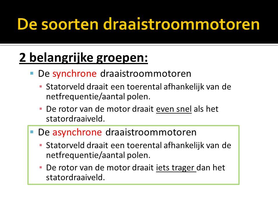 2 belangrijke groepen:  De synchrone draaistroommotoren ▪ Statorveld draait een toerental afhankelijk van de netfrequentie/aantal polen. ▪ De rotor v