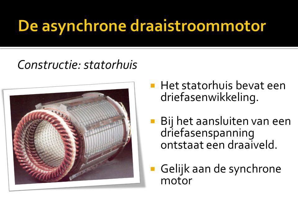 Constructie: statorhuis  Het statorhuis bevat een driefasenwikkeling.  Bij het aansluiten van een driefasenspanning ontstaat een draaiveld.  Gelijk