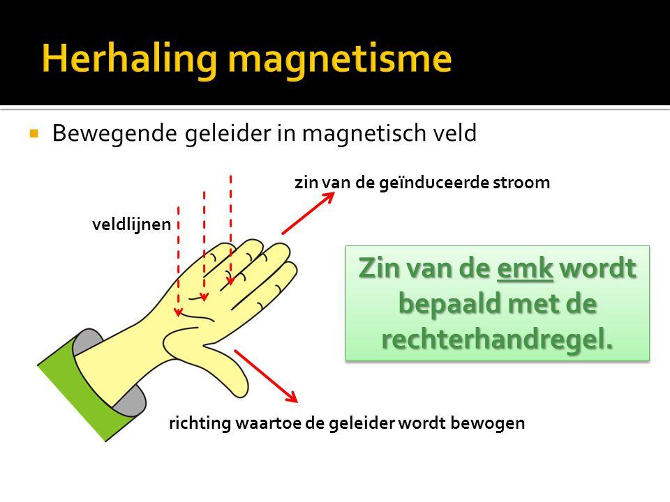  Bewegende geleider in magnetisch veld Zin van de emk wordt bepaald met de rechterhandregel. veldlijnen richting waartoe de geleider wordt bewogen zi