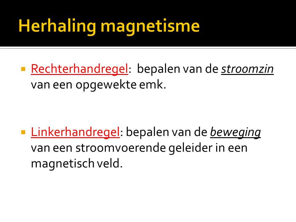  Rechterhandregel: bepalen van de stroomzin van een opgewekte emk.  Linkerhandregel: bepalen van de beweging van een stroomvoerende geleider in een
