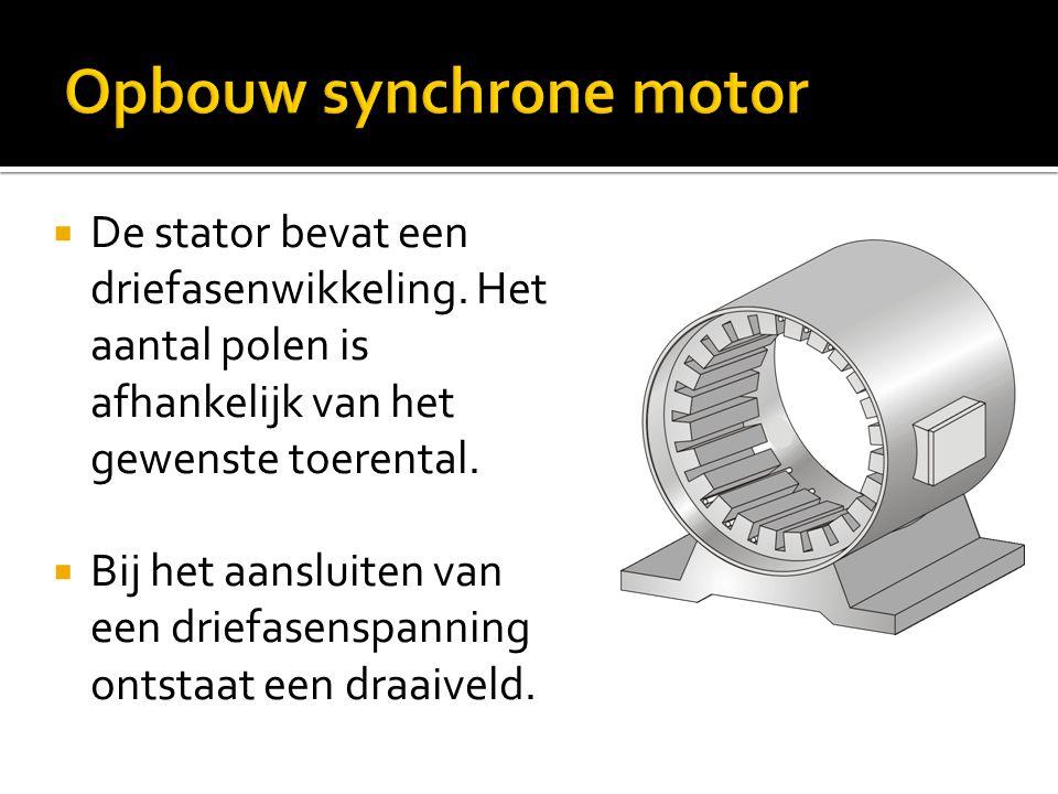  De rotor bevindt zich in de statorholte en wordt via sleepringen van een gelijkspanning voorzien.